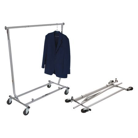 Econoco - RCW/4 - Chrome Collapsible Square Tubing Rolling Clothing Rack Use Econoco's Chrome Collapsible Square Tubing Rolling Clothing Rack for either permanent or temporary apparel display.