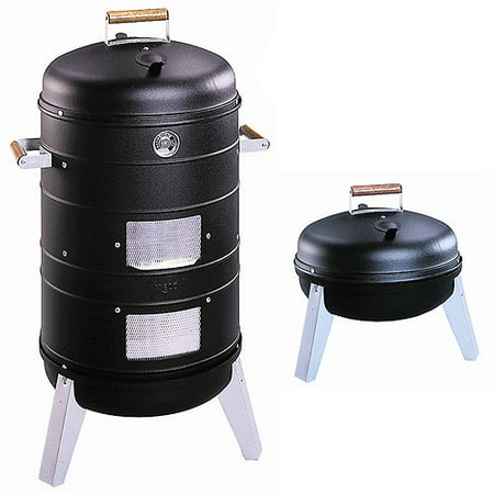 Meco Southern Country Smoker 2 In 1 Charcoal Water Smoker With 2 Levels Of Smoking And Combination Portable Grill
