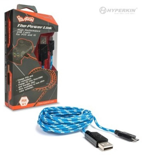Hyperking Polygon Braided Universal Micro USB Charge Cable: Blue/White