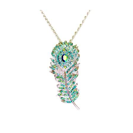 Peacock Feather Necklace Pendant Charm Emerald Color Green AB Rhinestone Crystal -