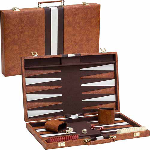 "CHH 18"" Brown & White Backgammon Set"