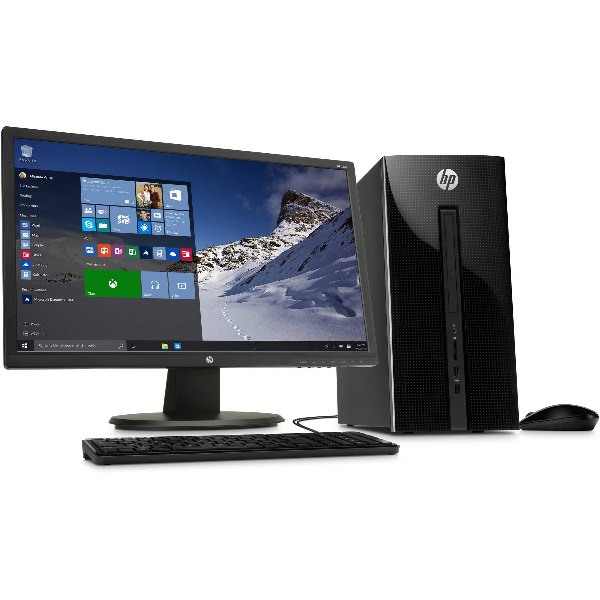 "HP 251-a123wb Desktop PC with Intel Pentium J2900 Processor, 4GB Memory, 21.5"" Monitor, 1TB Hard Drive and Windows 10 Home"