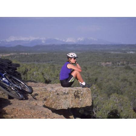 Woman Mountain Biking, Sitting Print Wall Art By Amy And Chuck