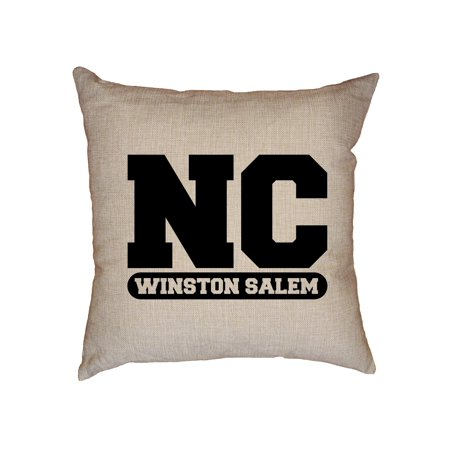Nc State Pillow - Winston Salem, North Carolina NC Classic City State Sign Decorative Linen Throw Cushion Pillow Case with Insert