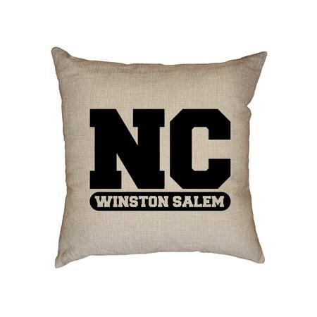 Winston Salem, North Carolina NC Classic City State Sign Decorative Linen Throw Cushion Pillow Case with Insert ()