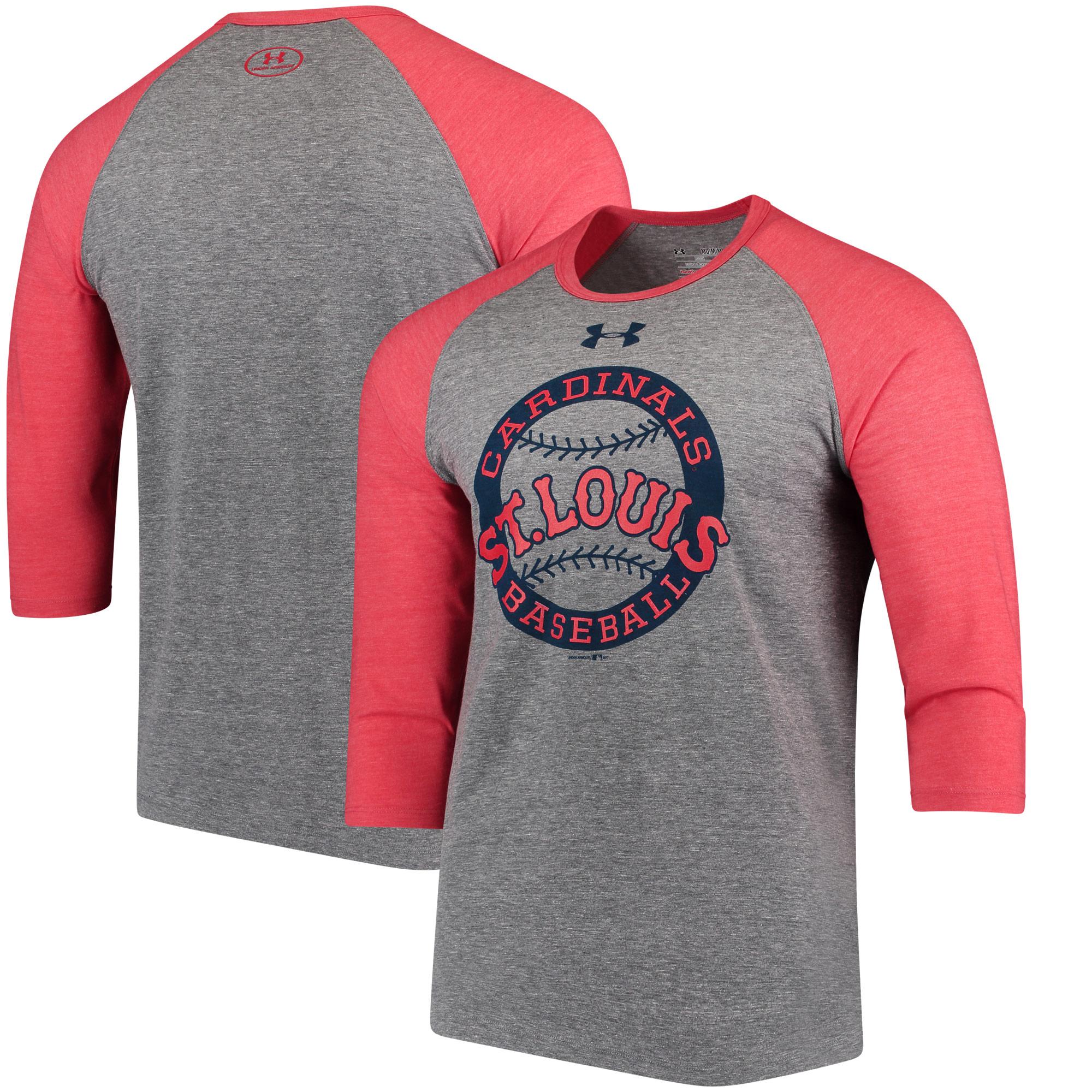 St. Louis Cardinals Under Armour Baseball 3/4-Sleeve Tri-Blend Performance T-Shirt - Gray/Red