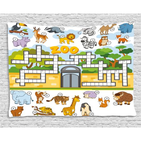 Word Search Puzzle Tapestry, Zoo Themed Education Game with ...