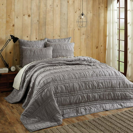 Dark Grey Urban Farmhouse Bedding Natasha Cotton Pre-Washed Ruched Ruffle Voile Solid Color King Quilt Set (Quilt, (Urban Solid Bedding)