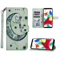 Galaxy S8 Plus Case, S8+ Case Wallet, Allytech PU Leather Marble Moon Embossed Folio Wrist Strap Full Protective Stand Money & Cards Holder Wallet Case Cover for Samsung Galaxy S8 Plus, Green