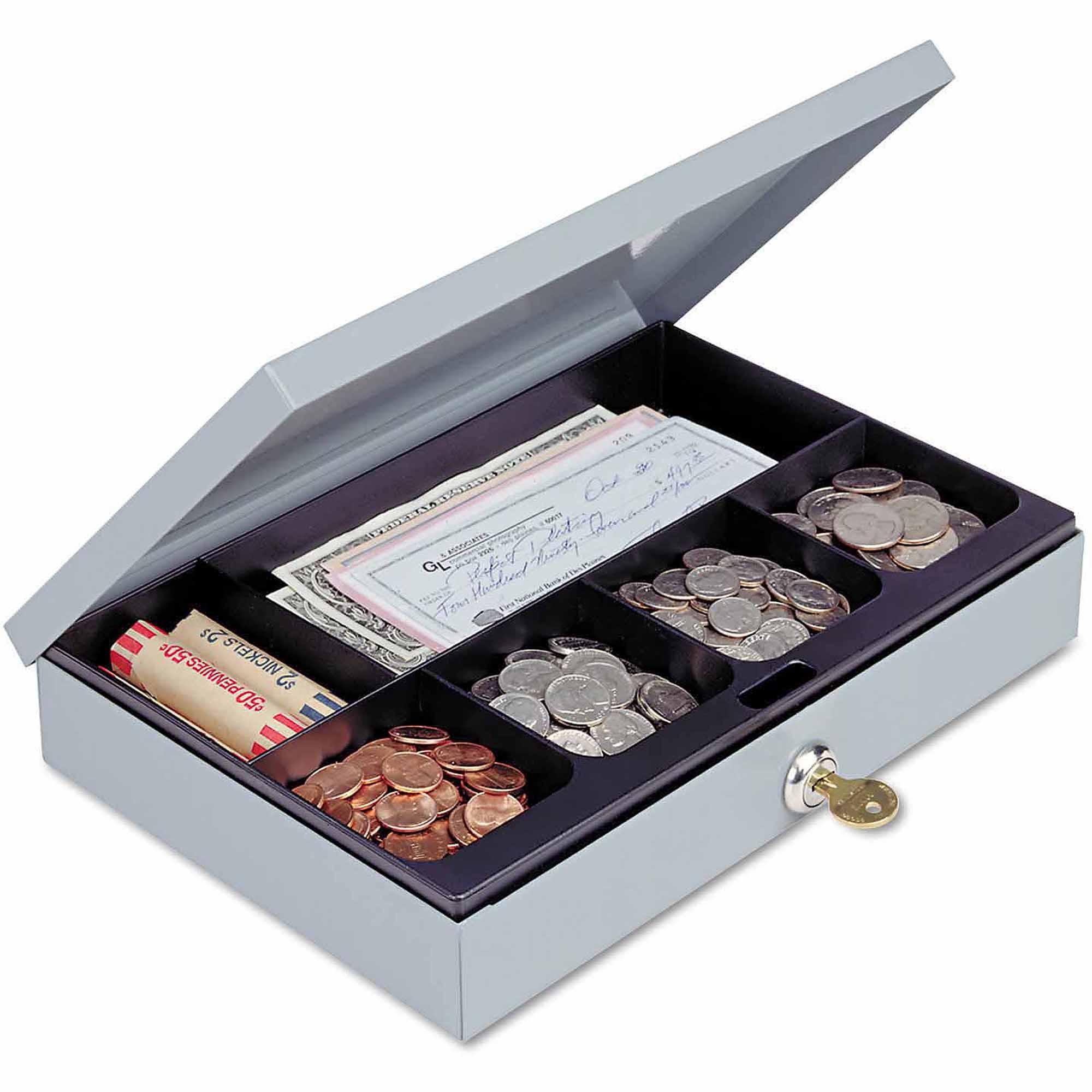 SteelMaster Heavy-Duty Steel Low-Profile Cash Box with 6 Compartments, Key Lock, Grey