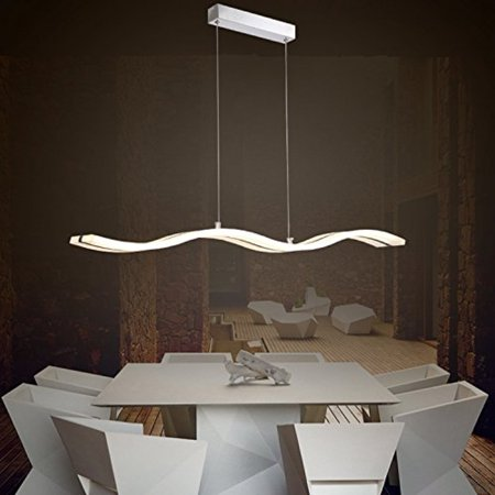 Modern Acrylic Wave Shape White LED Pendant Light Kitchen Island - Led pendant lights for kitchen island