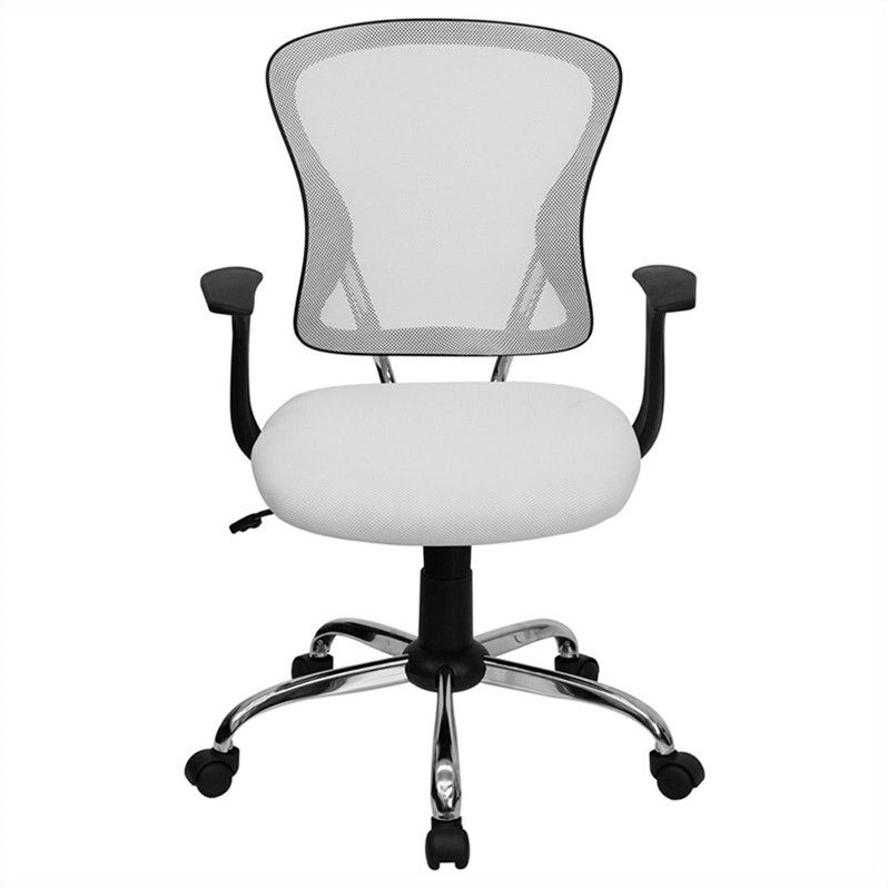 flash furniture mid back mesh office chair in white