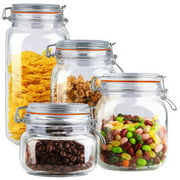 Home Basics 4-Piece Glass Canister Set, Clear