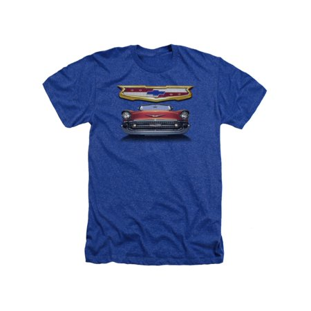 Chevrolet Autos 1957 Chevy Bel Air Classic Car Grille Adult Heather T-Shirt (1957 Grille)