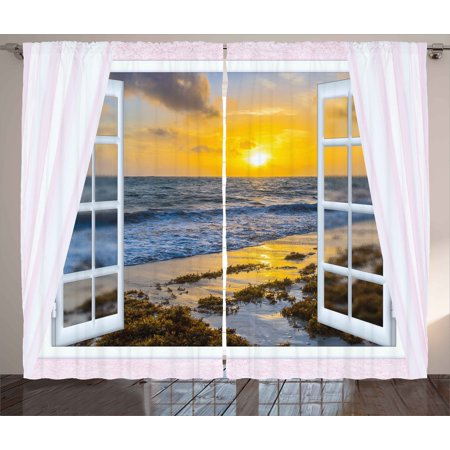 Coastal Curtains 2 Panels Set, Open Window View of the Sky with Clouds Rising Sun Seascape Grass Morning Scenery, Window Drapes for Living Room Bedroom, 108W X 63L Inches, Multicolor, by Ambesonne ()