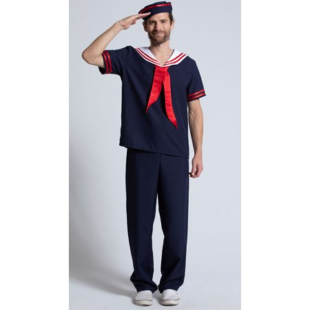Mens Ahoy Sailor Costume, Sailor Halloween Costume (Spirit Halloween Sailor Costume)