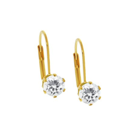 - 3.00 Ct Round Shape White Cubic Zirconia Yellow Gold Plated Brass Stud Earrings
