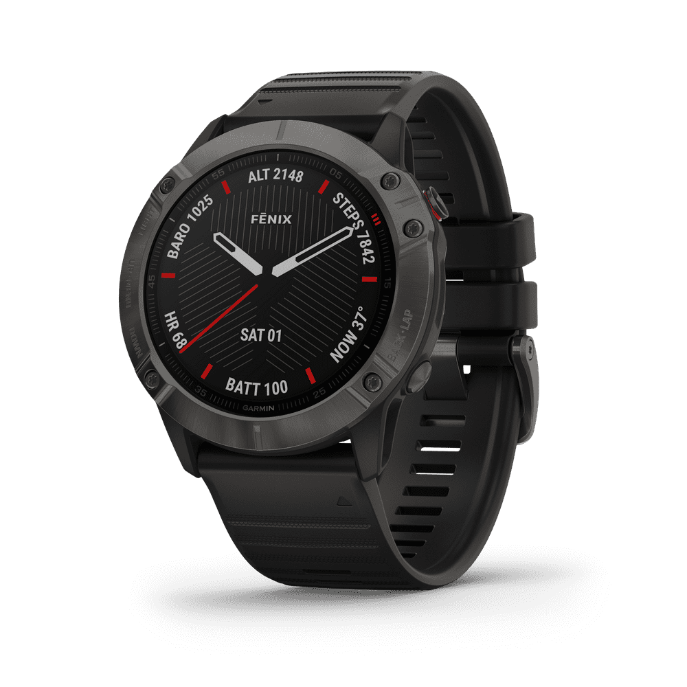 Garmin fenix® 6X Sapphire Carbon Gray DLC with Black Band