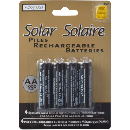 Moonrays 97142 Rechargeable NiMh AA Batteries for Solar Powered Units, 1000-mAh, 4-Pack