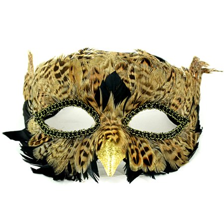 "7.5"" Brown and Black Owl Half Mask with Ribbon Ties"