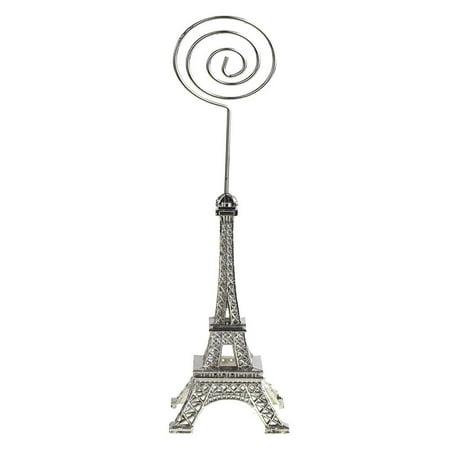 Metal Eiffel Tower Decor Card Holder, 4-inch, Swirl, Silver