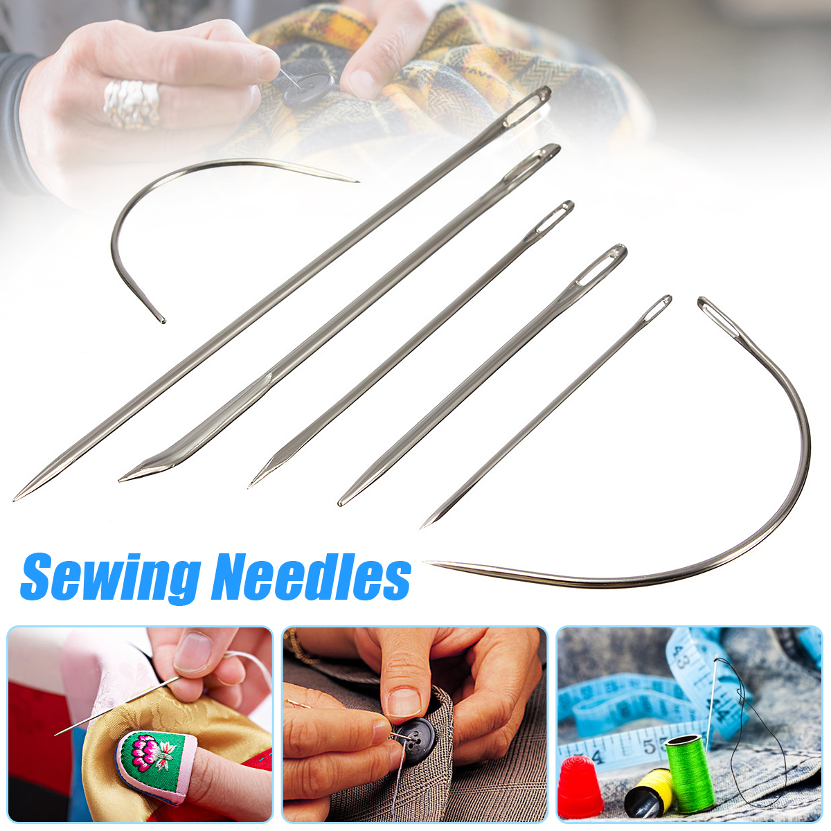 3 Pack Repair Curved Hand Sewing Needles Kit Tool For DIY Upholstery Carpet Leather Canvas