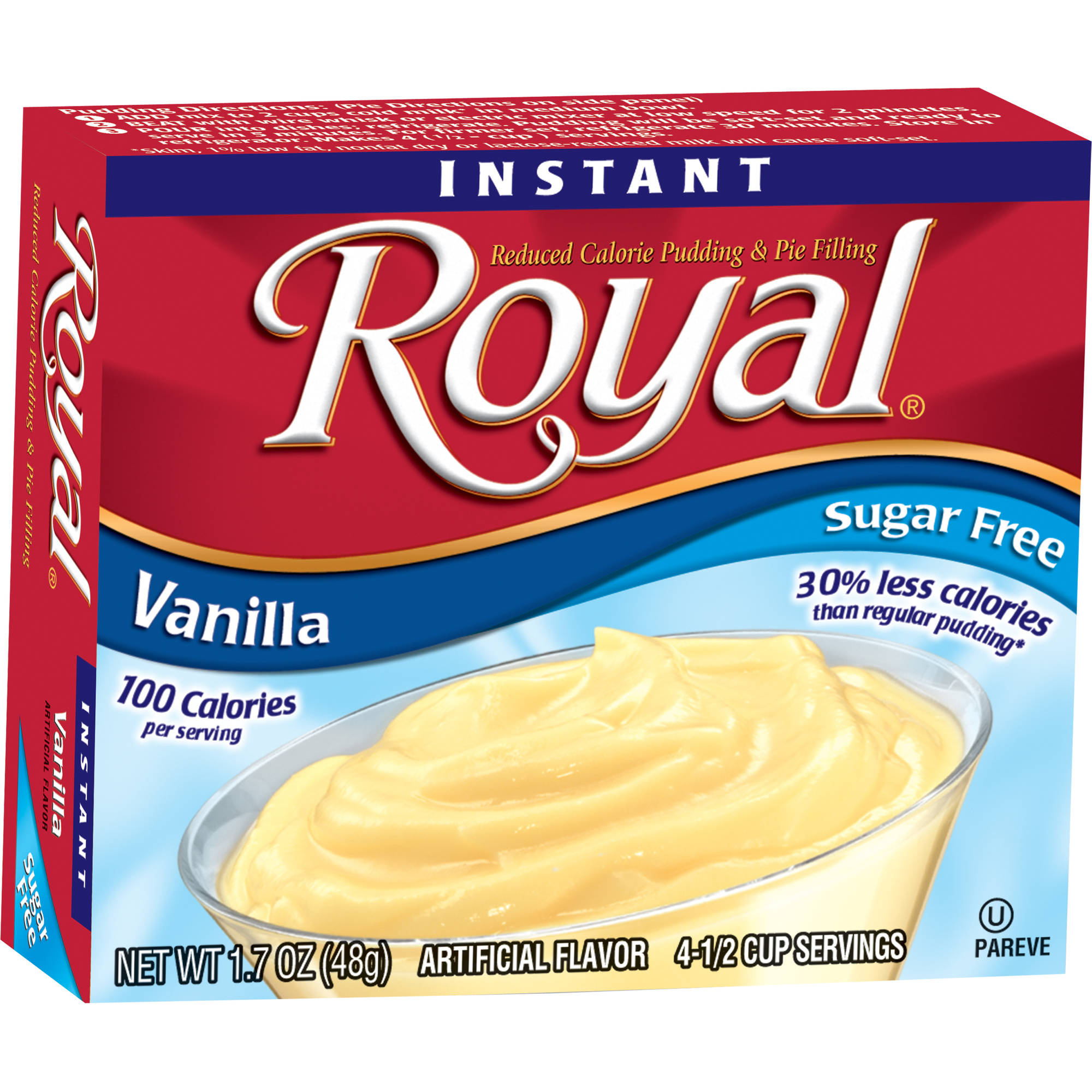 Royal Instant Vanilla Reduced Calorie Pudding & Pie Filling, 1.7 oz, (Pack of 12)