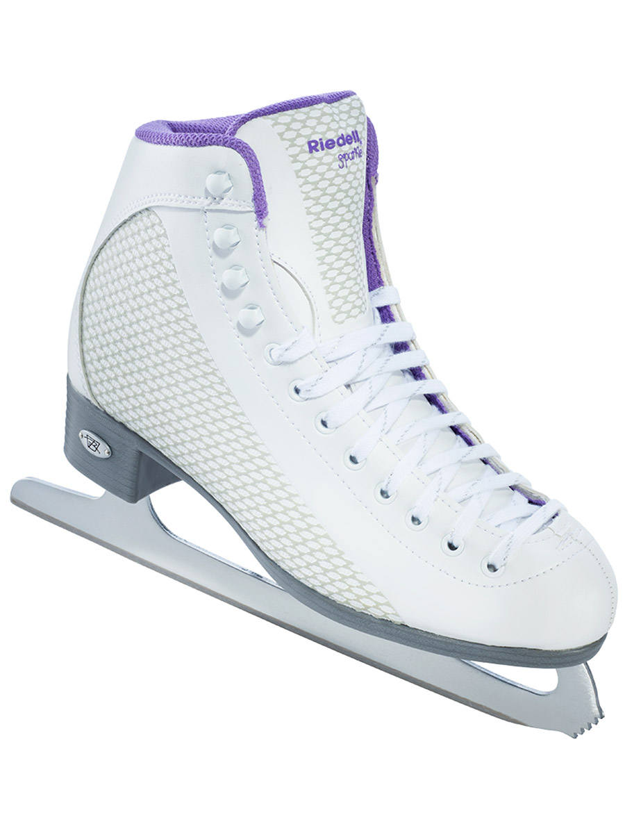 Riedell Ice Skates 113 White & Sparkle Lime Ladies Shoes by