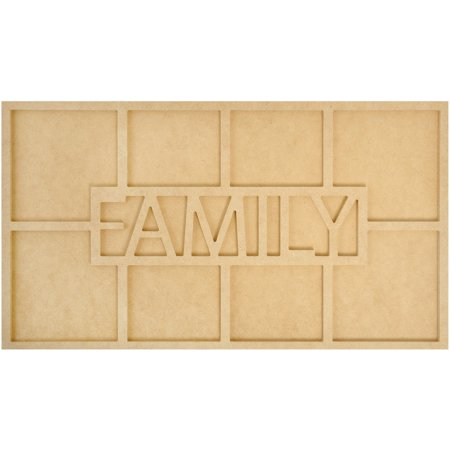 Kaisercraft Beyond The Page MDF Family Word Frame W/8 Openings-19.75inX7.75inX.5in