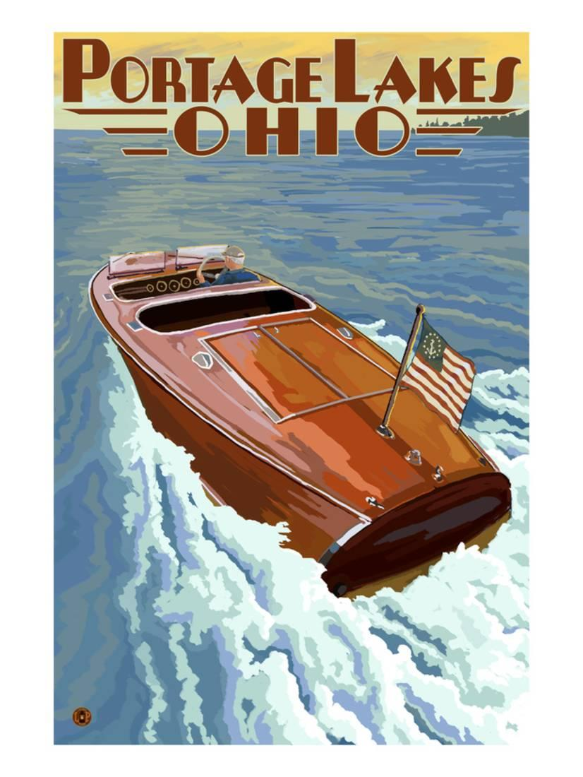 Portage Lakes, Ohio Wooden Boat Scene Art Print By Lantern Press by Art.com