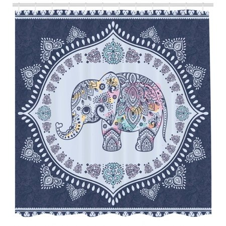 Ethnic Shower Curtain, Bohemian Elephant Figure with Gypsy Inspirations Spiritual Oriental Figures Graphic, Fabric Bathroom Set with Hooks, Navy Blue, by Ambesonne