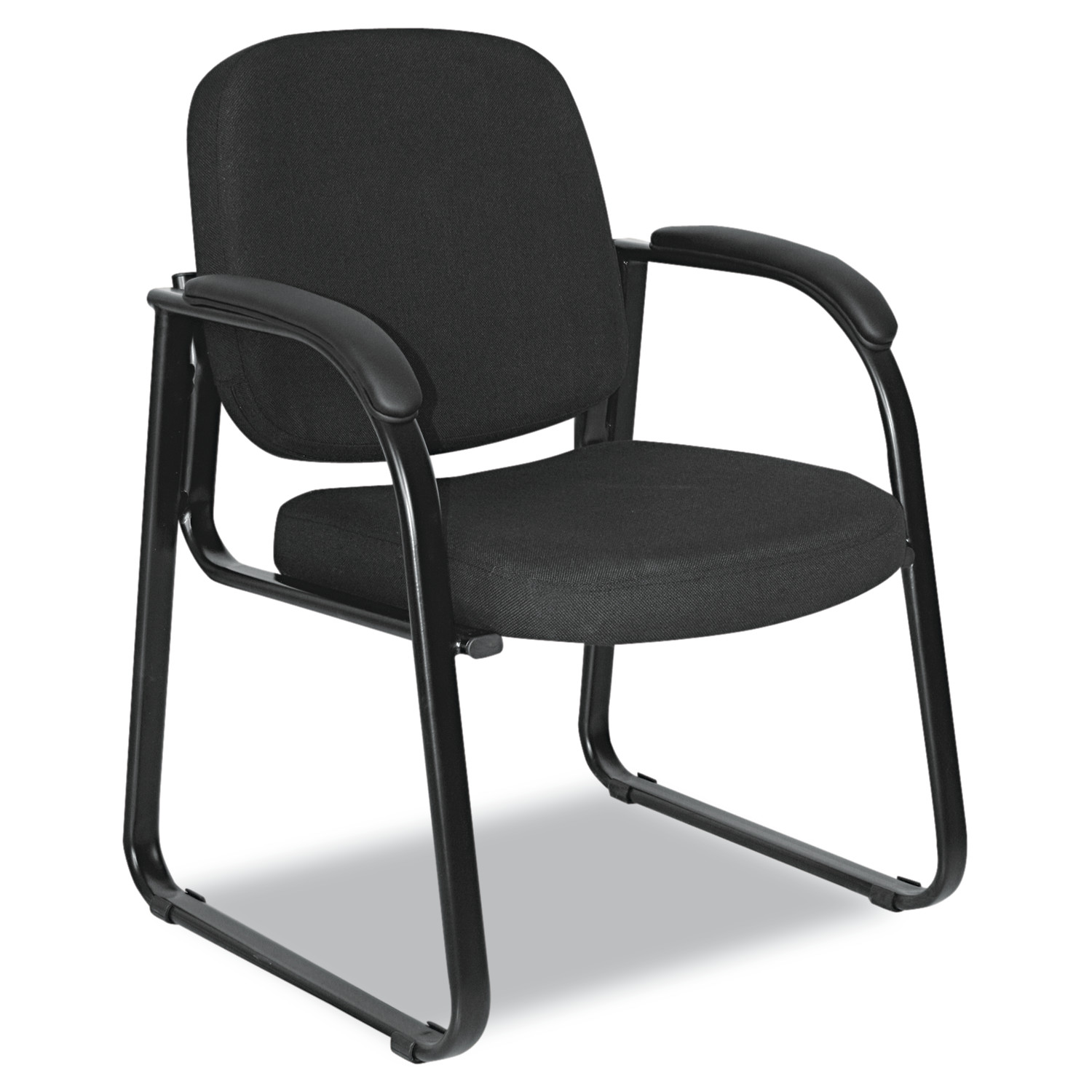 Alera Reception Lounge Series Sled Base Guest Chair, Black Fabric