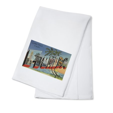 - Greetings from Florida (Palm Tree & Ocean Scene) (100% Cotton Kitchen Towel)