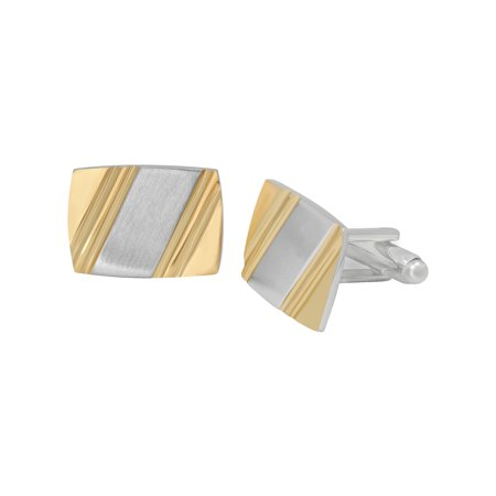 Men's Stainless Steel Gold-Tone Diagonal Striped Brushed Finish - Mens Cufflinks