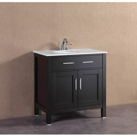 32 Bath Vanity - 32 inch Belvedere Modern Espresso Freestanding Bathroom Vanity