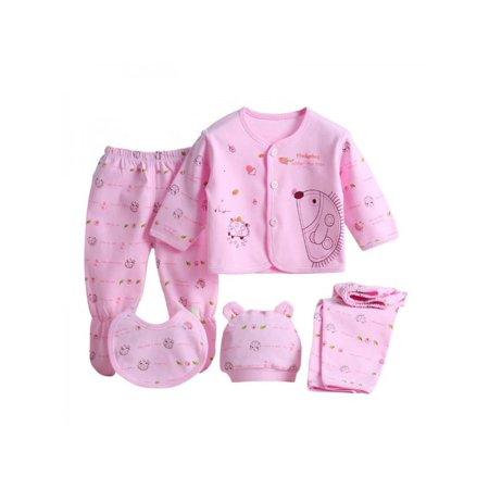 Tinymills 5Pcs Newborn Infant Cotton Monk Shirt Pants Baby Boys Girl Outfits Clothes