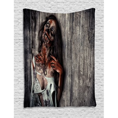 Zombie Decor Tapestry, Angry Dead Woman Sacrifice Fantasy Mystic Night Halloween Image, Wall Hanging for Bedroom Living Room Dorm Decor, 40W X 60L Inches, Dark Taupe Peach Red, by Ambesonne