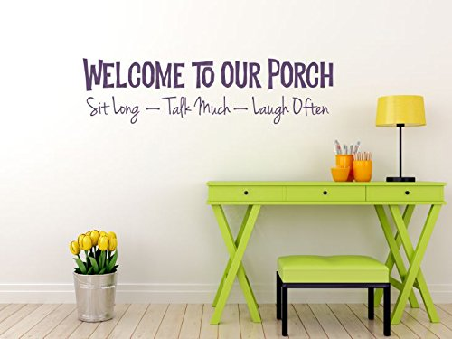 Welcome To Our Porch Vinyl Decals Lettering Quote Wall Décor Sticker 23 X 6 Black Walmart Com Walmart Com