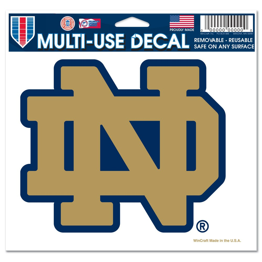Notre Dame Fighting Irish Official NCAA 4 inch x 6 inch  Car Window Cling Decal by Wincraft