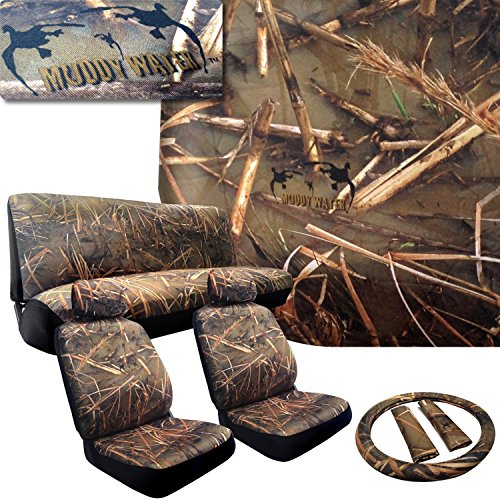 Click here to buy Muddy Water Camo Seat Covers for Ford Cars (2 Front Seats and Rear Bench) Duck Forest Camouflage Hunting.