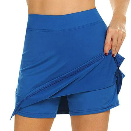 Roseonmyhand Women's Active Skorts Performance Skirt Running Tennis Golf Workout Sports Blue Tennis Skirt