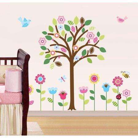 Pretty Pastel Garden Wall Decal Sticker - 17x30 (Garden Wall Graphics)