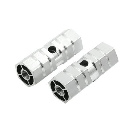 2 Pcs Silver Tone Aluminum Hexagonal BMX Mountain Bike Rear Foot Pegs