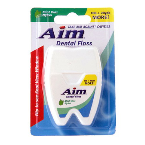 Aim Dental Floss, Mint With Nylon, 100 20 Yards, 3 Pack