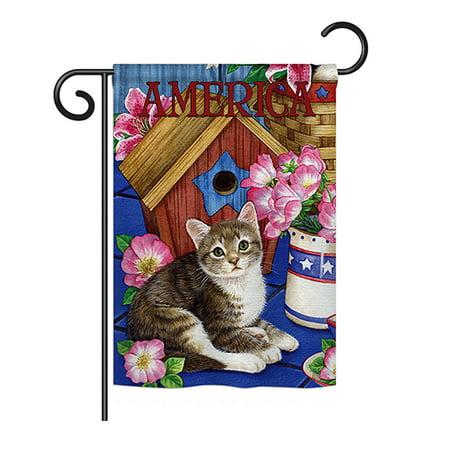 Ornament Collection - America Proud Kitten Cat Americana - Everyday Patriotic Impressions Decorative Vertical Garden Flag 13