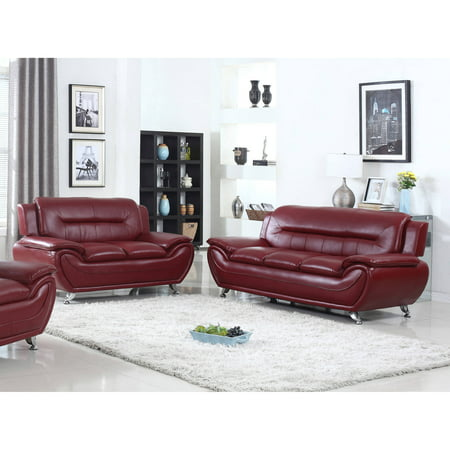 - UFE Norton Burgundy Faux Leather 2-Piece Modern Living Room Sofa and Loveseat Set