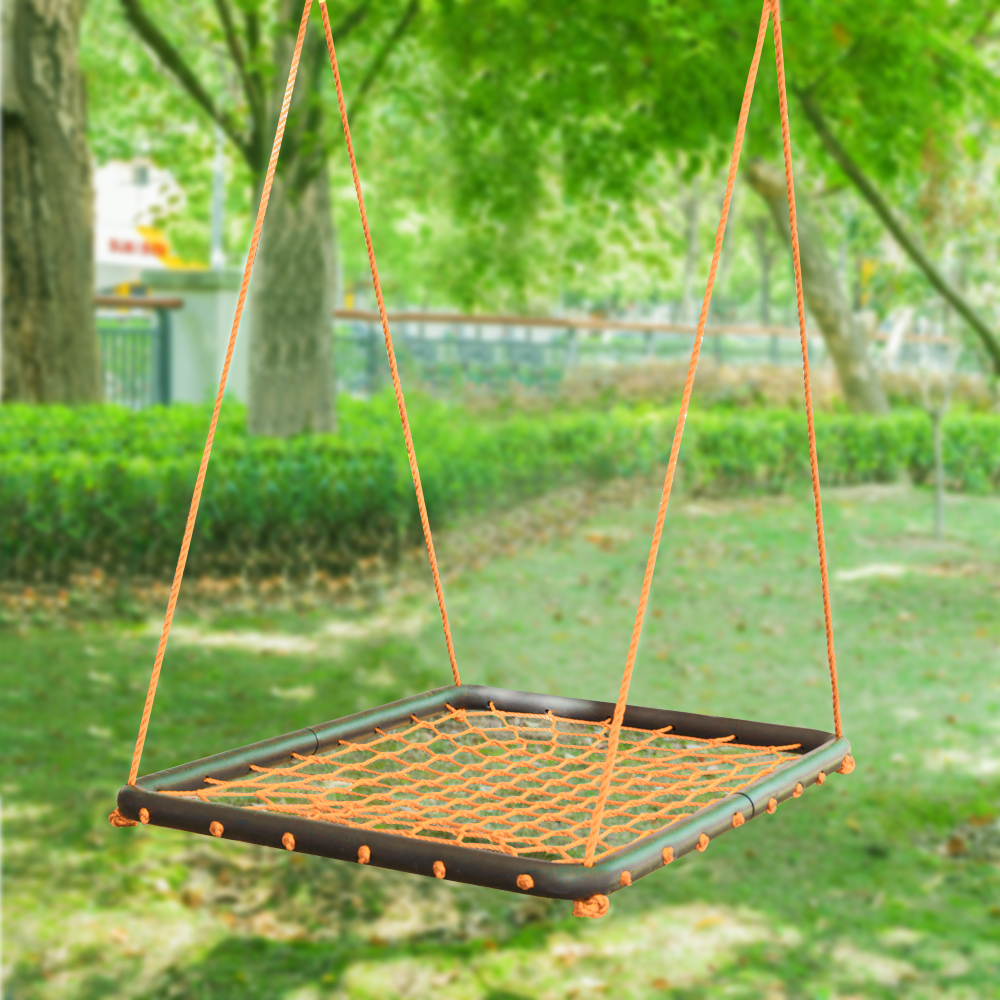 UBesGoo 40x30in Kids Detachable Nylon Rope Swing Sets Hanging Net - Weight Capacity 440 lb Orange