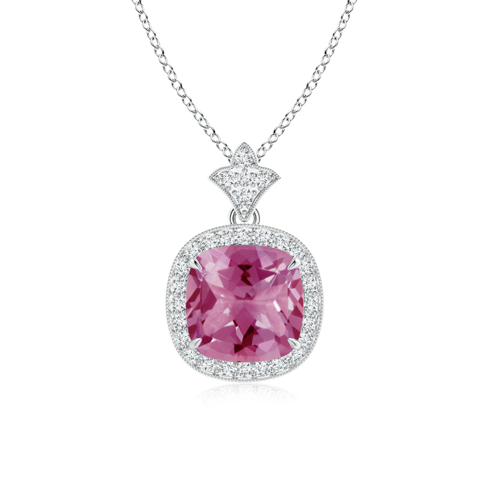 October Birthstone Pendant Necklaces Claw Set Pink Tourmaline Diamond Pendant with Milgrain Detailing in 950 Platinum... by Angara.com