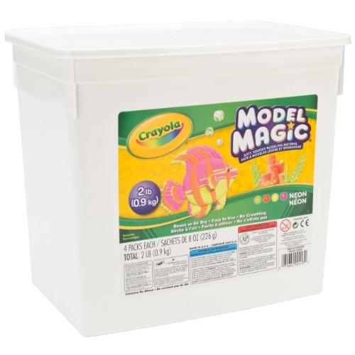 Crayola 232413 Model Magic Modeling Comlb 2lb. Bucket Neon Four 8oz. Pouches