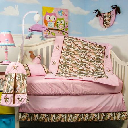 SoHo Crib Bedding Set for Baby Nursery, Pink Camo, 9 Pieces